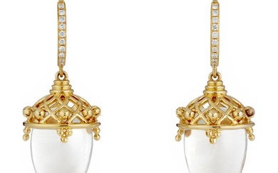 Temple St. Clair, A Pair of Rock Crystal, Diamond and Gold 'Lantern' Earrings