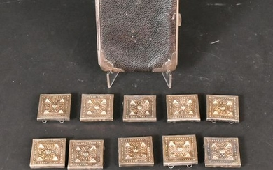 Ten Danish Silver Square Pierced Square Plaques