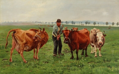 Theodor Philipsen: Landscape with cows. A cattleman is moving three cows. Signed with monogram and...