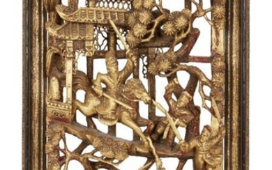 Three Chinese carved giltwood panels, late 19th...