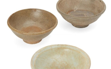 Three Chinese stoneware bowls, Yuan/Ming dynasty, each with an allover...