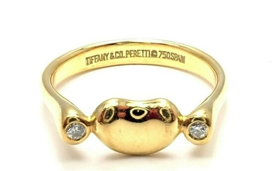 Tiffany & Co 18k Yellow Gold Diamond Peretti Bean Ring