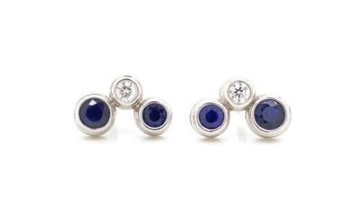 Tiffany & Co Sapphire and diamond bubble earrings marked for...