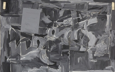 Troels Wörsel: Composition, February 1976. Signed and dated on the reverse. Oil on canvas. 100×150 cm.