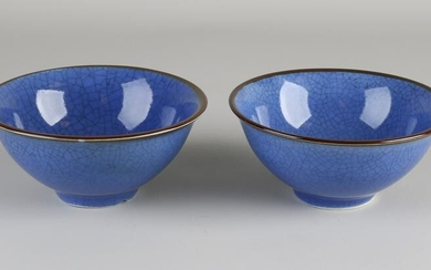 Two Chinese porcelain bowls with blue crackle