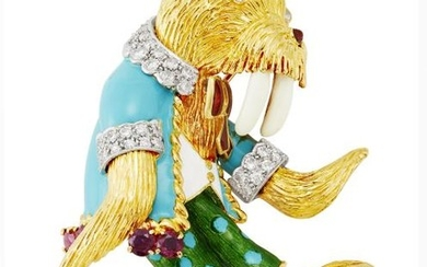 Two-Color Gold, Enamel, Diamond and Ruby Dancing Walrus Brooch