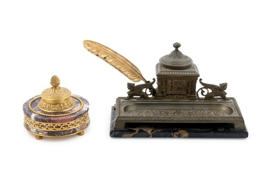 Two Continental Bronze and Marble Inkwells