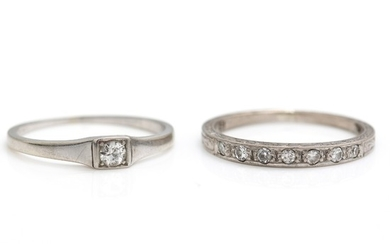 Two diamond rings set with numerous numerous single-cut diamonds and a brilliant-cut diamond, respectively, mounted in 18k and 8k white gold. Size 53 and 54.