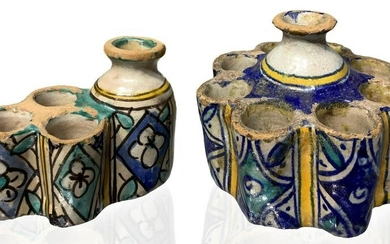 Two ink holder in glazed and decorated pottery.