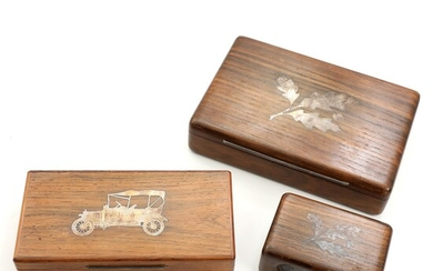 NOT SOLD. Two rosewood and bog oak boxes and a bog oak matchbox cover. Boxes...