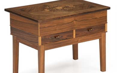 Unknown furniture design: Rosewood sewing table with flip-up top inlaid with floral intarsia. H. 47 cm. W. 61 cm. D. 42 cm.