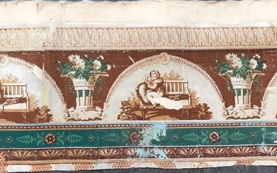 Upper and lower border in wallpaper from a private mansion in Aix-en-Provence, Restoration period
