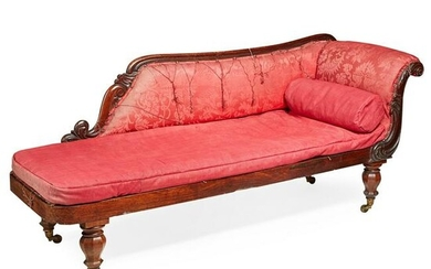 VICTORIAN MAHOGANY AND UPHOLSTERED CHAISE LONGUE MID
