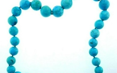 VINTAGE 14k Yellow Gold & Turquoise Bead Necklace