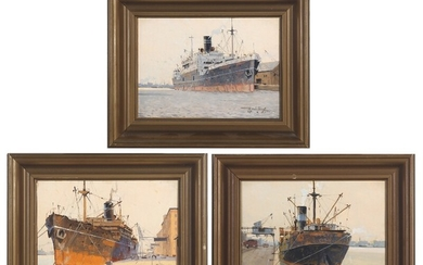 Victor Qvistorff: Harbour sceneries. All signed V. Quistorff respectively 1936, 1939 nd 1945. Oil on thick paper mounted on canvas. Each 15×21 cm. (3)