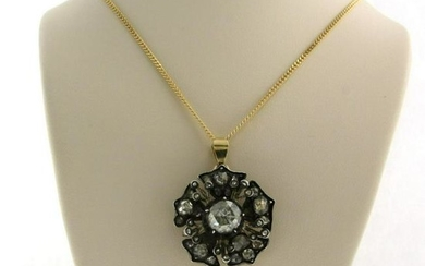 Victorian style diamond pendant, with modern chain