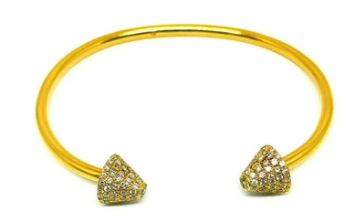Vintage 18k Yellow Gold Diamond Narrow Wire Bangle