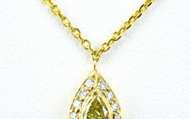 Yellow 14k Gold & Yellow Diamond Pendant Necklace