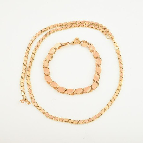 Yellow Gold Oval Link Jewelry Suite.