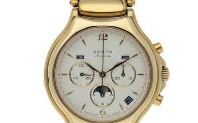 Zenith. A Gold Plate Triple Calendar Chronograph Wristwatch with Moon Phases