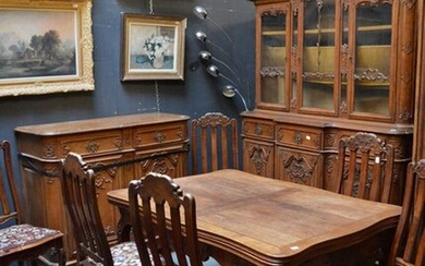 a dining room, table and 6 chairs, an oak chest...