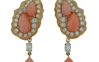 c.1960s CARTIER CORAL DIAMOND YELLOW GOLD EARRINGS