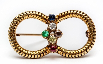 14krt. Gold brooch, set in the middle with...