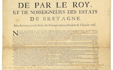 """1737. BRITAIN. ST JULIEN DE VOUVANTES (Loire Atlantique). """"By the King, and Our Lords of the States of BRITAIN."""" Mandate for the raising of the extraordinary Foüages of the year 1738."""