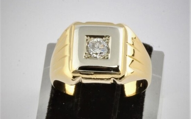 18 kt. Bicolour, Gold, White gold, Yellow gold - Ring, 750 Gold Masculin Men Solitaire RS57 - 0.23 ct Diamond