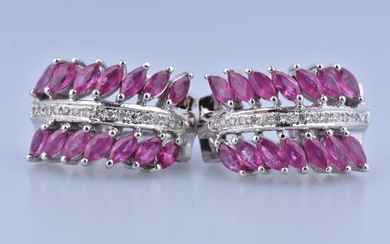 18 kt. White gold - Earrings - 0.98 ct Ruby - Diamonds