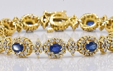 18 kt. Yellow gold - Bracelet - 7.21 ct Sapphire - 4.37 Ct Diamonds