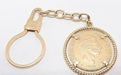 18 kt. Yellow gold - keychain with coin of the year 1883