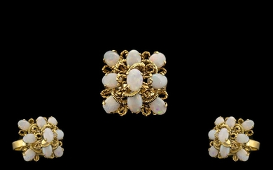 18ct Gold Attractive and Nice Quality Opal Set Cluster Dress...