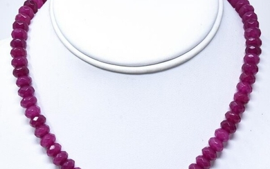 18kt Yellow Gold & 165 Carat Ruby Bead Necklace