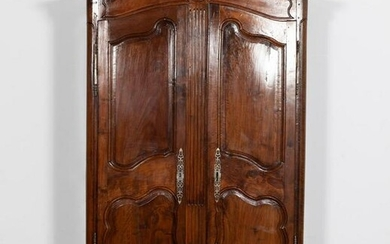 19TH CENTURY, LARGE FRENCH WALNUT TWO DOOR ARMOIRE