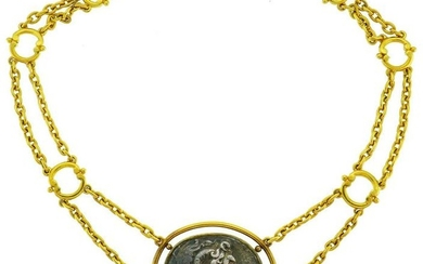 22k Yellow Gold Ancient Greek Coin Pendant NECKLACE by