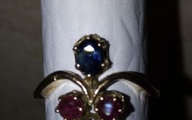 18 kt. Pink gold - Ring Ruby - Sapphire