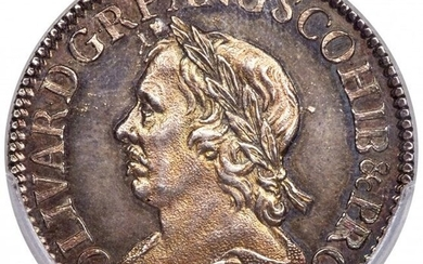 30165: Oliver Cromwell Shilling 1658 MS63 PCGS, KM-A207