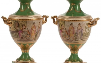 61065: A Pair of Royal Vienna-Style Two-Handled Porcela