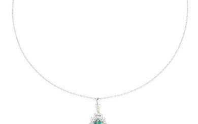 OPAL AND DIAMOND PENDANT in 18ct white gold, comprising