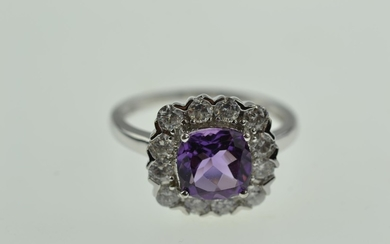 9ct white gold, amethyst & diamond square ring