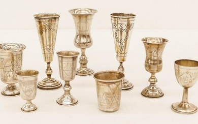 9pc Antique Russian Judaica Silver Kiddush Cups 2.25''