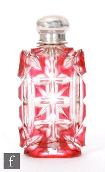 A 19th Century white metal and glass rectangular scent bottl...