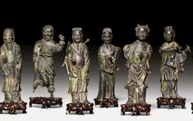 A BRONZE GROUP OF THE EIGHT IMMORTALS.