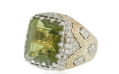 A Buccellati peridot and diamond ring