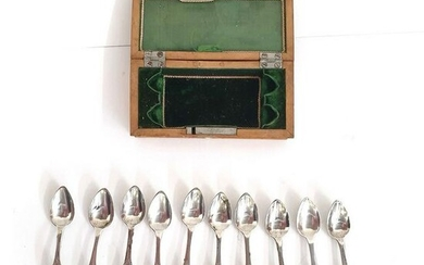A CASED SET OF TEN DUTCH SILVER COFFEE SPOONS, 1848