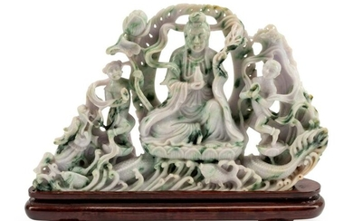 A Chinese Export Carved Hardstone Figural Group