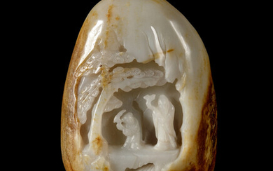 A Chinese Russet and White Jade Boulder