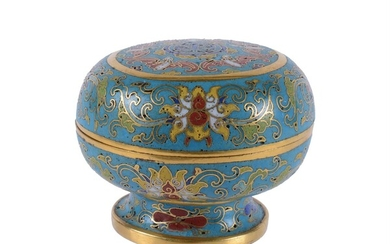 A Chinese gilt cloisonné circular 'Bats and Shou' box and cover
