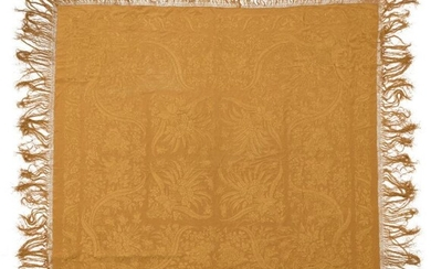 A Chinese yellow silk embroidered square shawl,...